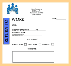 Kaiser Doctors Excuse Note Printable Doctor Notes Doctors Note Excuse From Work For