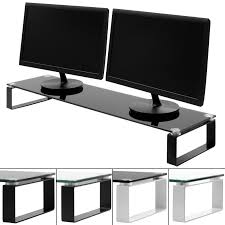 sentinel x large double monitor screen riser block shelf computer imac tv stand ps4