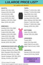 Lularoe Price Chart 2018 Lularoe Price List With Christy T Debbie Maria