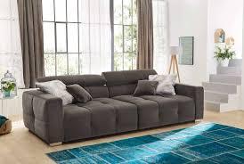Big Sofa In Samt Grau