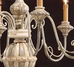 hand painted antique white and gray carved wood chandelier