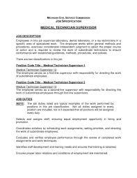 Medical Technologist Job Description Medicalt Sample Job Description Classy Technology Resume With 1