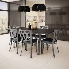 amisco washington metal chair and drift extendable table dining set 6 or 8 chairs set of 1 table 2 leaves and 6 chairs grey metal charcoal polyurethane