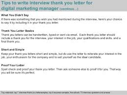sample thank you letter after interview via email digital marketing manager