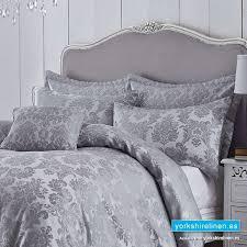 damask jacquard silver duvet cover set yorkshire linen mijas costa marbella spain