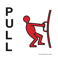 push and pull signs green red clear