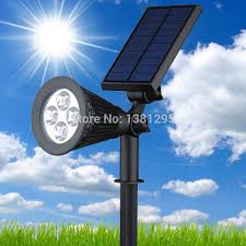 led solar power outdoor garden spot light grondspots solar led lawn lamp light rgb wall yard spotlight landscape lighting kit in solar lamps from lights
