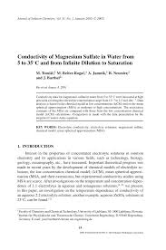 conductivity chemistry. conductivity of magnesium sulfate in water from 5 to 35°c and infinite dilution saturation (pdf download available) chemistry o