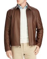 polo ralph lauren maxwell lambskin leather zip jacket brown for men