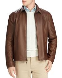 polo ralph lauren maxwell lambskin leather zip jacket brown for men