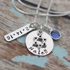 bat mitzvah necklace with date and birthstone personalized bat mitzvah necklace bat mitzvah gift hand sted