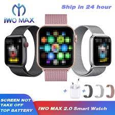 IWO Max 2.0 Đồng Hồ Thông Minh Smartwatch Bluetooth Gọi Dây Đeo Thay Đổi  Dòng 5 Thông Minh Ban Nhạc Nhịp Tim Thể Thao Cho Android IOS PK IWO 8 12 IWO  13|Smart Watches