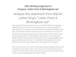 Ppt 1301 Writing Assignment 4 Analysis Letter From A