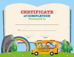 certificates of completion for kids certificate template with kids on school bus illustration royalty