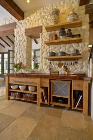 Rustic Kitchen Shelving Kitchen Rustic Kitchen With Stone Wall Also Reclaimed Wood