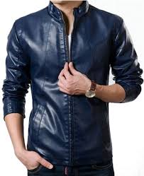 men s stand collar slim fit blue faux leather jacket