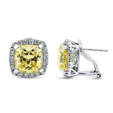sterling silver cushion canary yellow cz halo omega back statement stud earrings