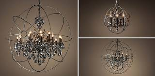 foucault s orb crystal chandelier collection rh stunning with crystals pertaining to 16