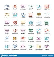 Data Analytics Icons Pack Stock Vector Illustration Of