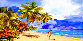 tropical beach painting special moments