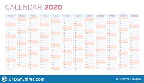 Calendar Yearly 2020 Business Planner Calendar Vector Template For 2020 Year
