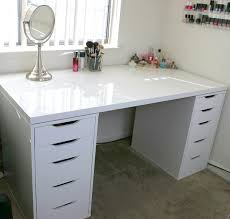 white minimalist makeup vanity and storage ikea linnmon alex