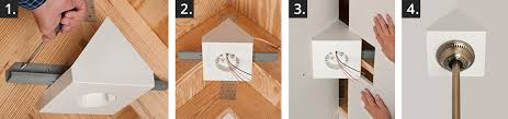mount steel bracket to angled rafters with short sides of box touching each rafter keep bottom of box level the bracket to the rafter