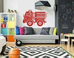 firefighter baby nursery decor. fire truck vinyl wall decal - boy girl nursery, bedroom, playroom theme firefighter baby nursery decor o