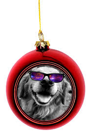 ornament dog hipster golden retriever in galactic shades gles bauble christmas ornaments red bauble tree xmas walmart