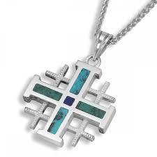 rafael jewelry sterling silver and eilat stone classic jerum cross necklace jewelry my jerum
