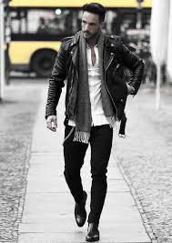 mens how to wear a leather jacket leather jacket outfits styles fall season scarf