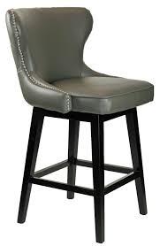 grey counter stools with nailheads. Wonderful With R8707 Grey Leather Swivel Counter Stool With Chrome Nailheads  On Stools L