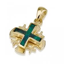 ben jewelry 14k gold eilat stone layered rounded jerum cross pendant jewelry my jerum