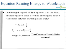 13 combining the sd of light equation with the planck einstein equation yields a formula showing the inverse relationship between wavelength and energy