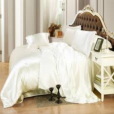 ivory color silk bedding sets twin full queen king size soft bedcover solid color duvet cover