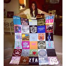 College Memories in the form of a t-shirt quilt | Project Repat T ... & I was so excited to see the end result of my sorority quilt. It brought  tears to my eyes to see all my shirts made into such a special blanket that  I ... Adamdwight.com