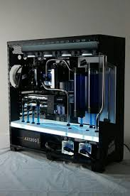 blue black computer pc tower setup liquid cooled case computer buildcomputer casecustom