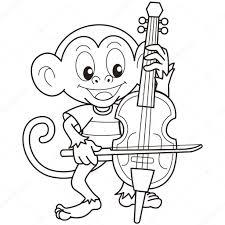 Cartoon Aap Spelen Een Cello Stockvector Kchungtw 22505923