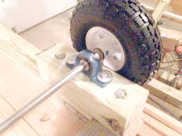 close up of the wheel structure on diy utility cart