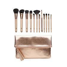 rose gold makeup brushes set. luke henderson 12-piece brush set with rose gold clutch makeup brushes n