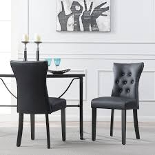 set of 2 modern dining chair faux leather