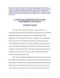 Indexation Chart Pdf Pdf Classic And Enhanced Index Funds Performance And Issues