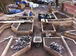 Small Picture Railway sleepers used to create raised beds in a new garden