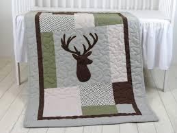 deer crib bedding deer crib quilt deer baby blanket deer head blanket chevorn green gray brown