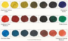 Paint mixtures for the three sets of Complementary Colors. Red and Green,  Yellow and