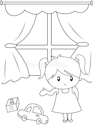 Small Picture Cute Little Girl Playing Indoors Coloring Page Stock Illustration