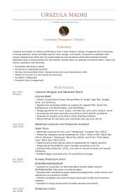 costume designer / wardrobe stylist Resume example