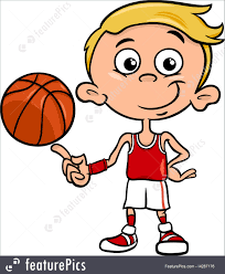 playing cartoon children boy basketball player cartoon stock illustration