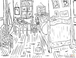 Small Picture Bedroom at Arles By Vincent Van Gogh coloring page Free