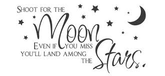 Image result for reach high for the moon if you fall you'll land among the stars